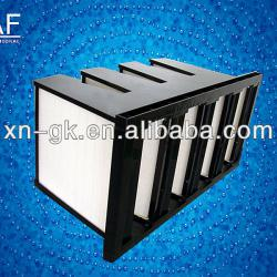Combined V-bank mini-pleat flanged hepa air filter for ventilation