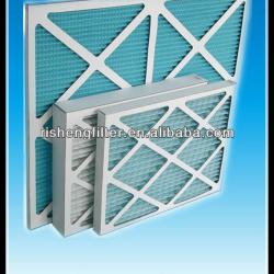 More pleated paper frame air filter with cardboard