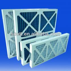 white color carton frame synthetic fiber prefilter /blue corrugated media disposible air filter