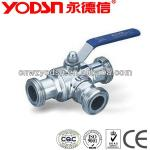 Sanitary clamped 3 way ball Valve stainless steel-