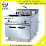 Freestanding industrial stainless steel double tank mini electric fryer with cabinet-