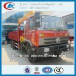 Famous brand Dongfeng 6x4 cargo crane truck with flatbed 8tons for hot sales