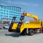 Dongfeng 12tons low flat-panel with crane 6.3tons for hot sales