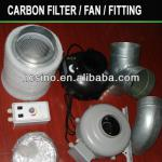 Carbon Air Filter.Inline Fan.Metal Fitting.Speed Controller
