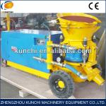 Shotcrete spray machine with continuous and steady spraying flow